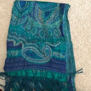 Blue and green paisley scarf